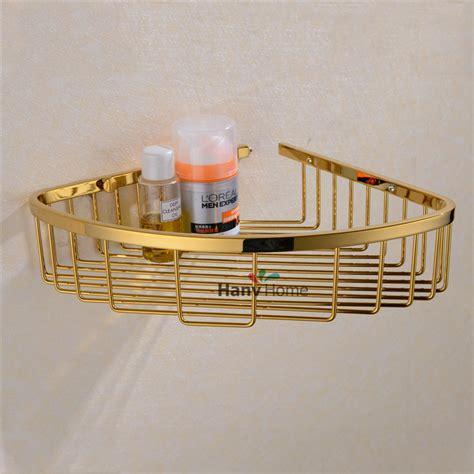 Stainless steel pvd ti golden bathroom shelf bracket shelves basket shower corner storage caddy