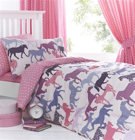 Gallop Pink Girls Horse Bedding Duvet Cover Set Sheet Or Curtains
