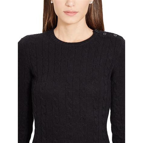 black cable knit sweater ralph cable knit sweater dress in black lyst