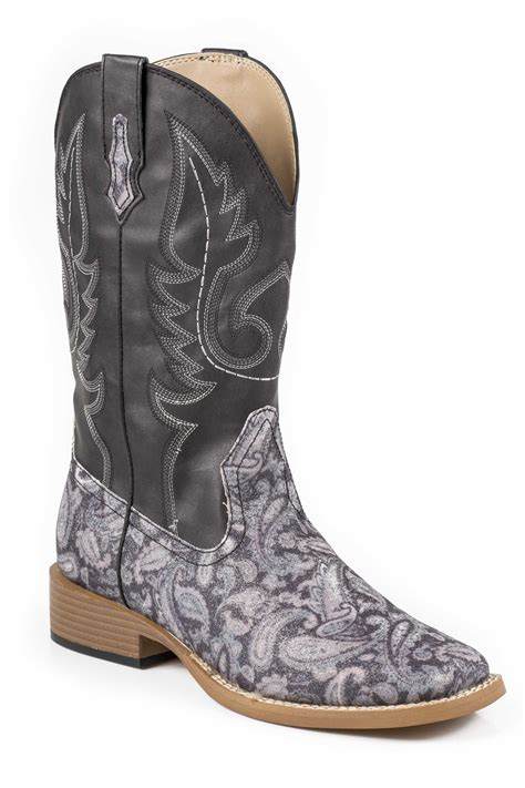 sparkly cowboy boots roper glitter paisley black faux leather sq toe