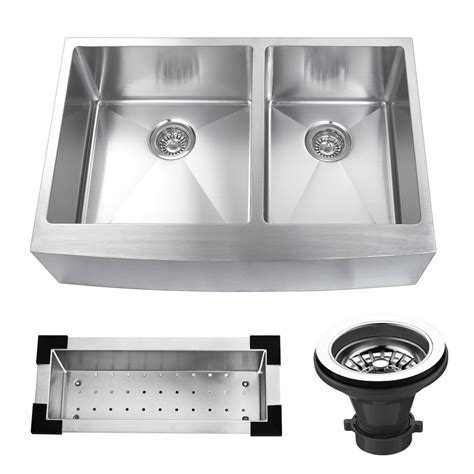 33 x 22 farmhouse sink kbc 33 quot x 22 25 quot stainless steel double bowl farmhouse