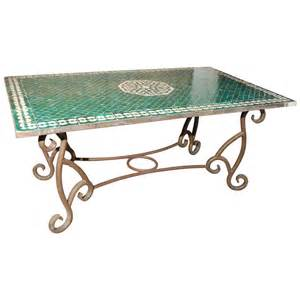 Moroccan Dining Table Moroccan Vintage Mosaic Green Tile Dining Table At 1stdibs
