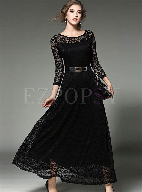 Hollow Out Lace Dress lace hollow out belt sleeve maxi dress ezpopsy