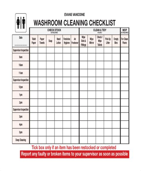 restaurant bathroom cleaning checklist template restaurant bathroom cleaning schedule template
