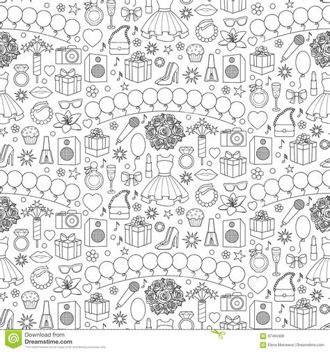 girl party seamless pattern stock vector image