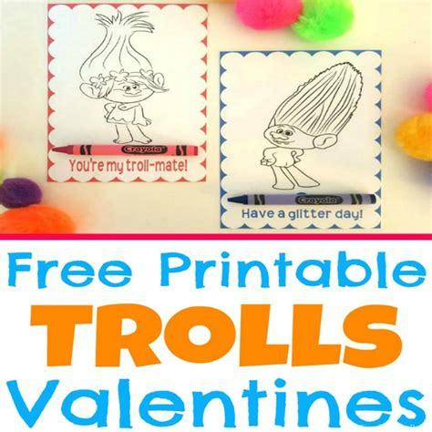 free printable trolls movie valentine coloring cards simple pretty