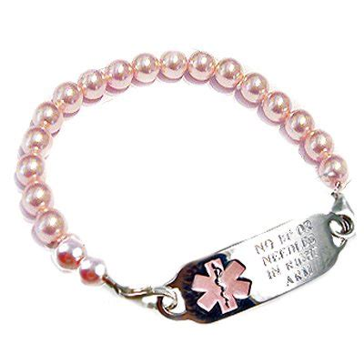 Medical Alert Bracelets and stylish jewelry custom engraved for men, women, children   Pink