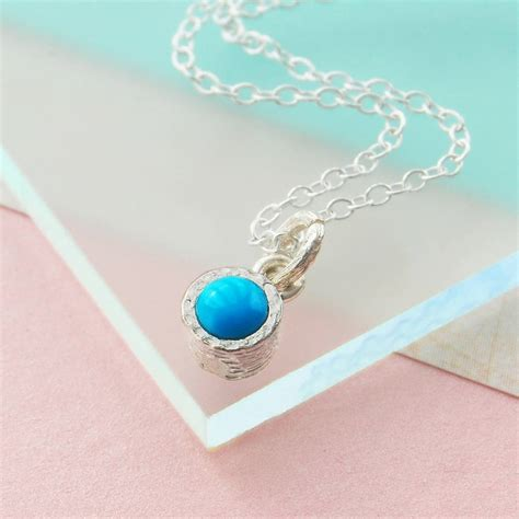 turquoise birthstone silver december birthstone turquoise necklace by