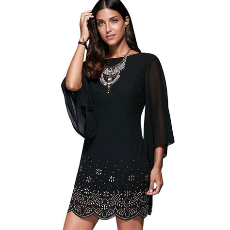 Big Size Dress Casual Black Bell Sleeve Branded Murah aliexpress buy 2017 casual dresses for bell