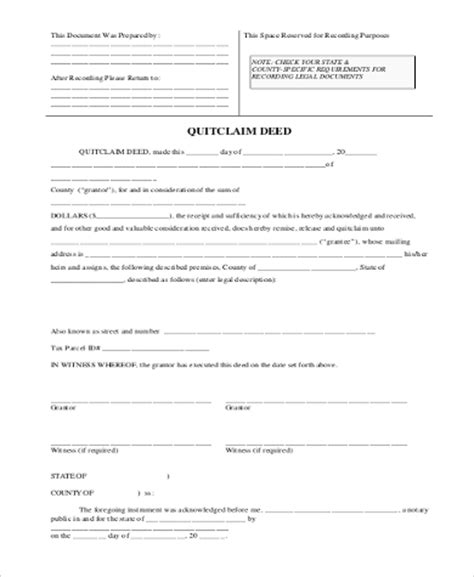 printable blank quit claim deed form quitclaim deed sle form 6 free documents in word pdf