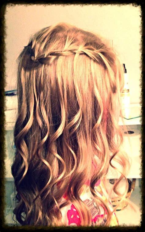 spiral curls waterfall braid cute girls hairstyles 55 best hair images on pinterest
