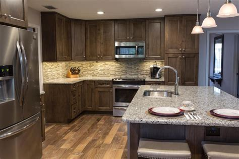 kitchen decorating ideas dark cabinets the wall the rustic brown kitchen cabinet with soft grey granite