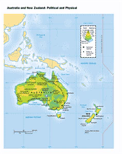 physical map of australia and new zealand political and physical map of australia and new zealand