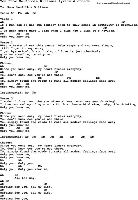 my lyrics williams song lyrics for you me robbie williams with chords