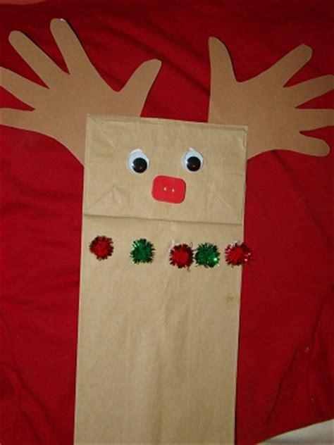 paper bag reindeer puppet christmas craft preschool