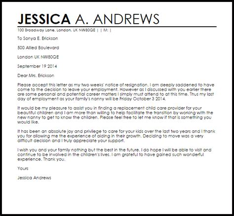 Nanny Resignation Letter Resignation Letters Livecareer