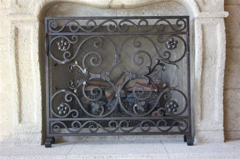 custom iron fireplace screens mediterranean fireplace