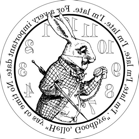 printable white rabbit clock alice in wonderland white rabbit clock sketch coloring page