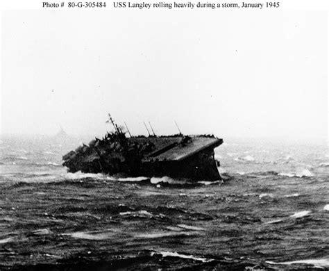 uss jersey sinks island usn ships uss langley cvl 27