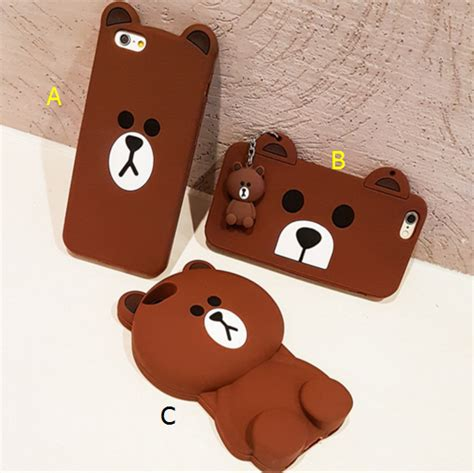Iphone 7 Line Friends Girly 3d Cover Soft Casing iphone 8 cover korean 3d teddy silicone phone cases for 5 5s se 6s 6 plus