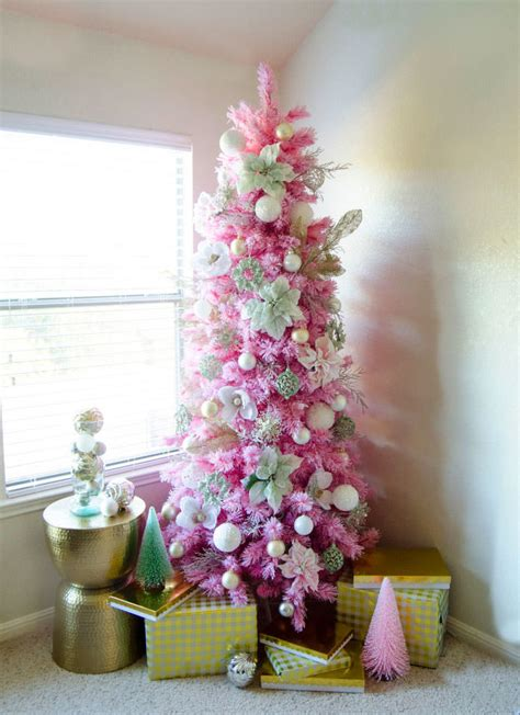 angel pink flocked christmas tree treetopia