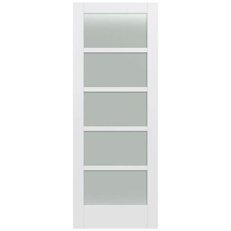 White Glass Panel Interior Doors Jeld Wen 32 In X 80 In Moda Primed White 5 Lite Solid Wood Interior Door Slab With