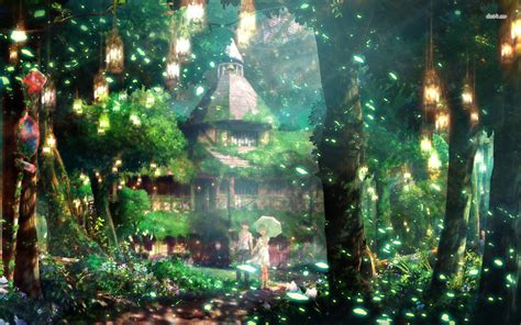 anime village wallpaper couple in magical forest animated scenery art