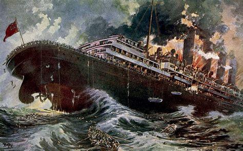 ww1 sinking of the lusitania liner for transatlantic passenger