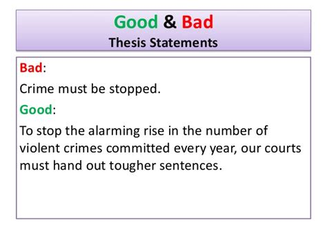 bad thesis statement exles thesisstatements