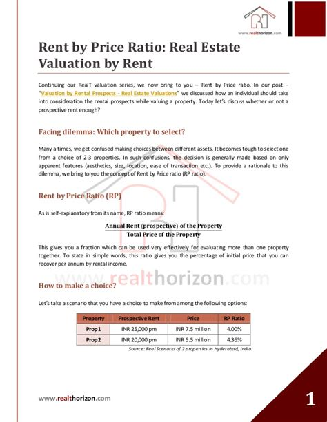 real estate valuation by rent price ratio
