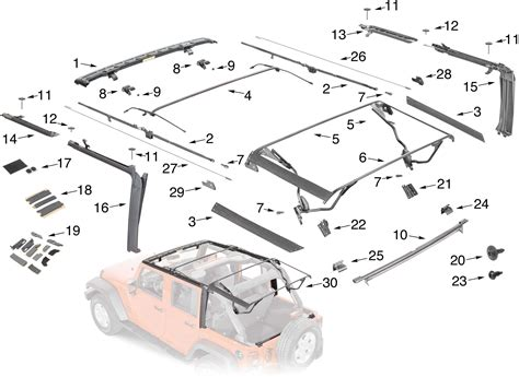 Jeep Soft Top Hardware Jeep Wrangler Jk Soft Top Hardware Parts 4 Door Quadratec