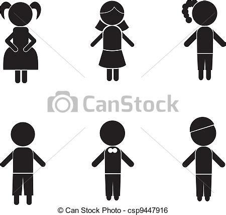 clip art de vectores de silueta ni 241 a llevando vaquera ni 241 o siluetas ni 241 a palo ni 241 o iconos de concepto