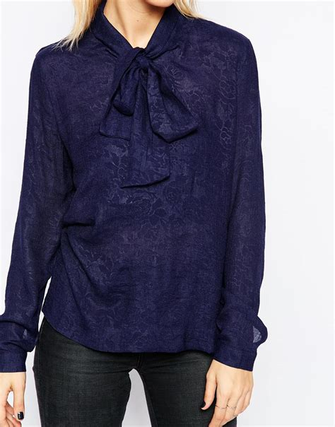 Blouse Payung Emboss 2 minimum sleeve embossed blouse with bow in blue lyst