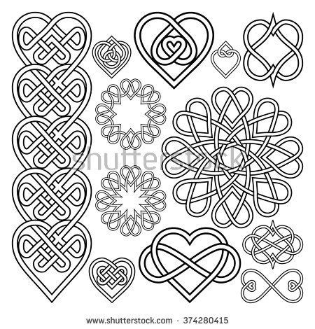 intertwined heart tattoo designs set hearts intertwined in celtic knot twelve items