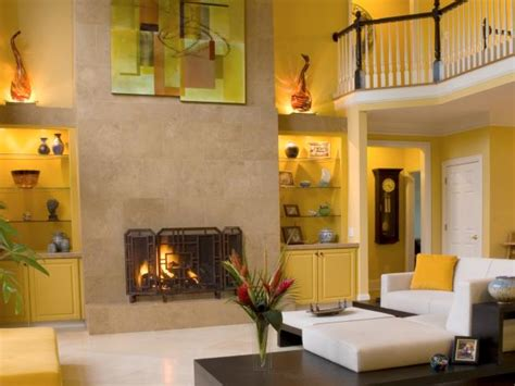 yellow fireplace photo page hgtv