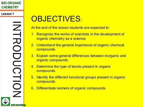 biography lesson plan objectives lesson 1 organic chemistry