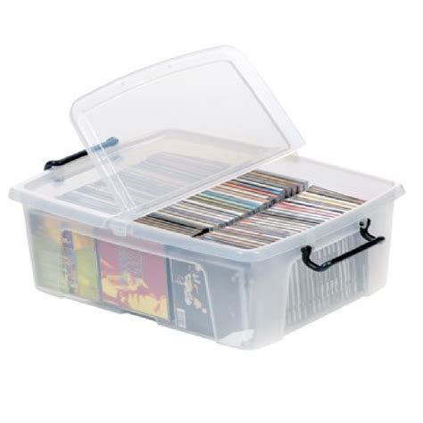 cd storage container buy 24lt strata smart plastic storage box with clip on lid