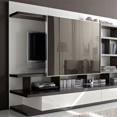 sliding mirror concealing tv odion  standing tvwall