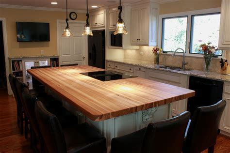 Custom Hickory Bucher Block Kitchen Island   Traditional