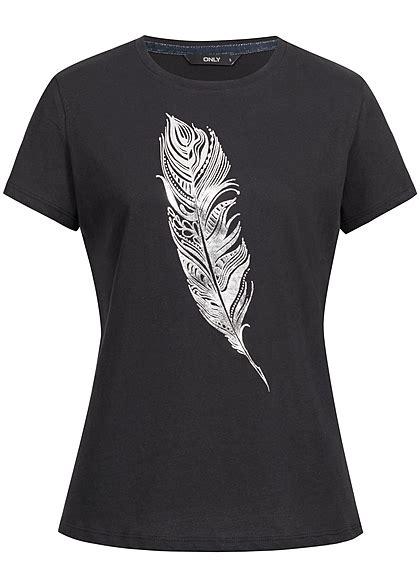 Baumwoll T Shirt Damen by Only Damen T Shirt Feder Print Schwarz Silber 77onlineshop