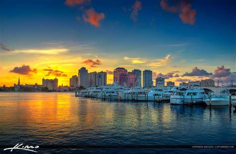 wpb city skyline sunset  palm beach marina