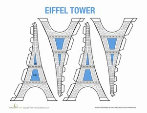eiffel tower model template worksheets education