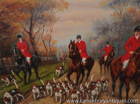 english fox hunting scene oil painting signed  roy