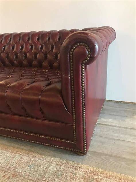 cordovan leather sofa cordovan leather tufted chesterfield sofa settee at 1stdibs