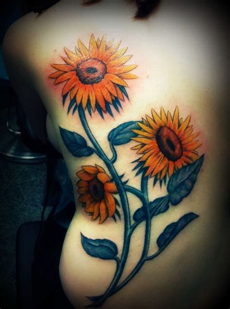 sunflower tattoo on side creativefan