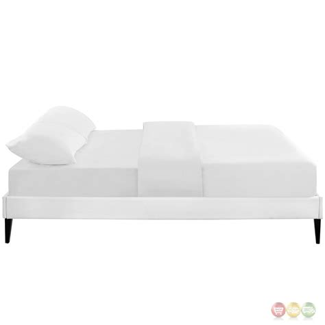 Sharon Modern King Vinyl Platform Bed Frame With Square Platform Bed Frame White