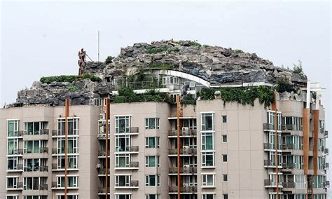 Apartment Building Roof Zhang Builds Mountain On Apartment Block In Beijing