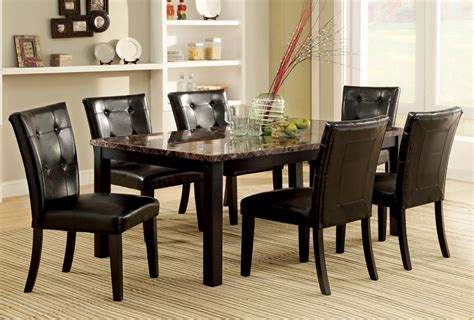 7 pc dining room table set with faux marble top espresso