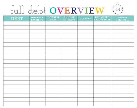 debt sheet template 9 debt planner spreadsheet excel spreadsheets
