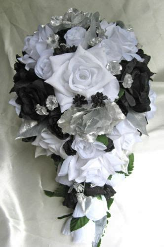 21pc bridal bouquet wedding silk flowers black white silver centerpieces package ebay